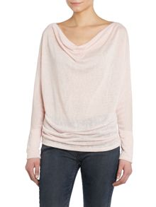 Long sleeve cowl neck knit top