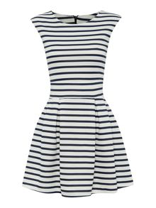 Sleevesless stripped fit and flare dress