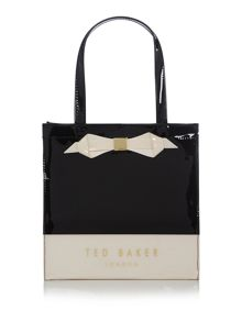 Black colour block small bowcon tote bag