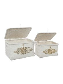 Alhambra set of 2 bamboo storage with print