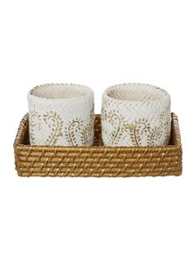 Two Printed Baskets in Tray