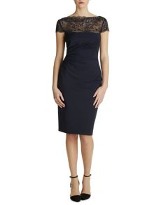 Soft handle ponti dress with lace neck