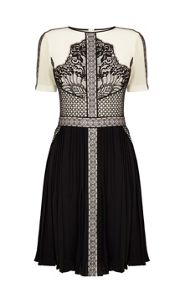 Graphic placed lace dress