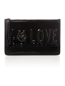 Love embossed black clutch bag