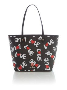 Black large print tote bag