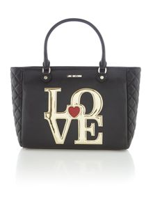 Black large love tote bag