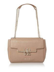 Frame saffiano taupe chain shoulder bag