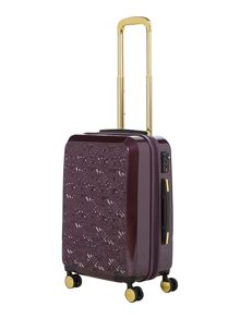Biba Logo emboss purple 8 wheel cabin suitcase
