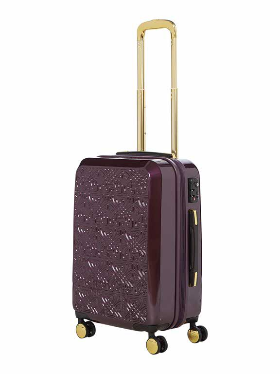 Biba Logo emboss purple 8 wheel cabin suitcase Purple