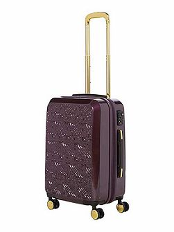 Logo emboss purple 8 wheel cabin suitcase