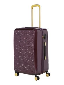 Logo emboss purple 8 wheel medium suitcase