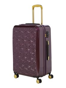 Logo emboss purple 8 wheel large suitcase