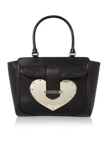 Metal heart black tote bag