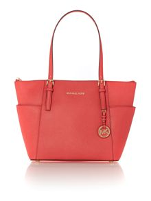 Jetset pink zip top tote bag