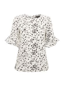 Speckle print peplum sleeve top
