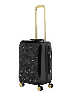 Logo emboss black 8 wheel cabin suitcase