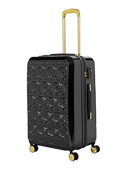 Logo emboss black 8 wheel medium suitcase