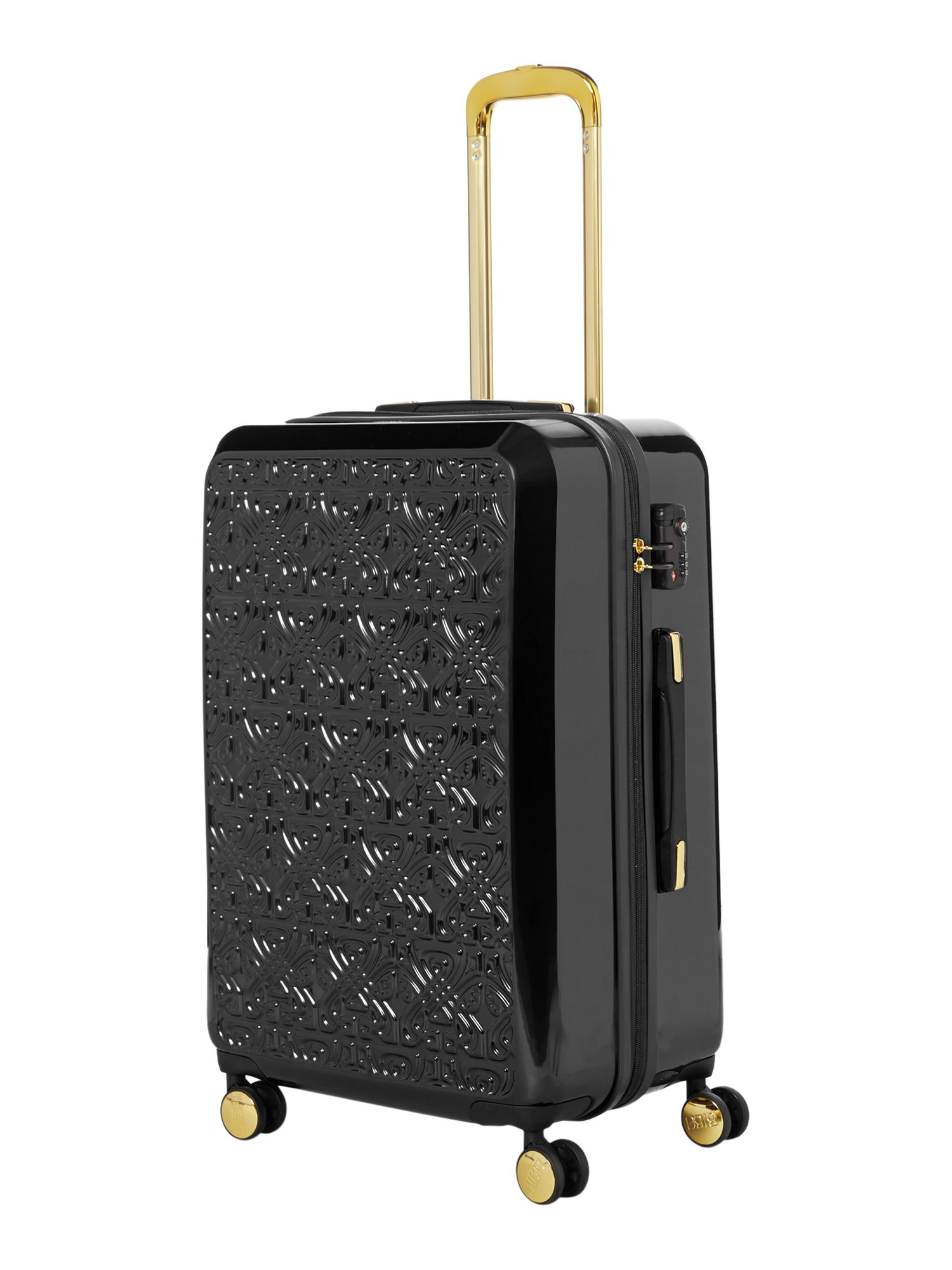 Biba Logo emboss black 8 wheel large suitcase Black