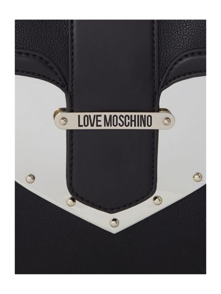 Love Moschino Metal heart black large back pack