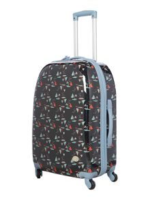 Boat print blue 4 wheel large suitcase