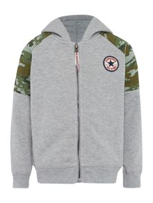 Boys All Star Logo Zip Camo Hoody