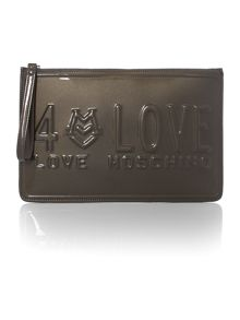 Love embossed grey clutch bag