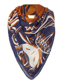Kenzo Four tigers modal square scarf