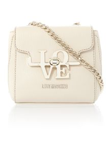 Frame saffiano beige small crossbody bag