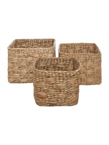 Linea Water Hyacinth Storage Baskets (Set of 3)
