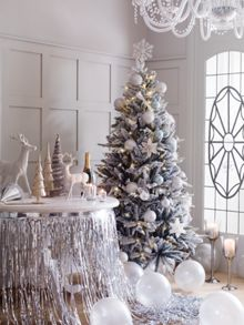 Silver christmas tree wrapping paper