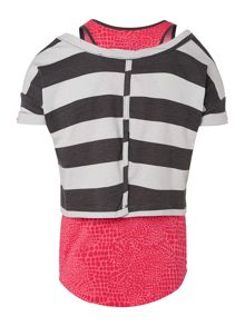 Girls Double Layer Stripe Tshirt
