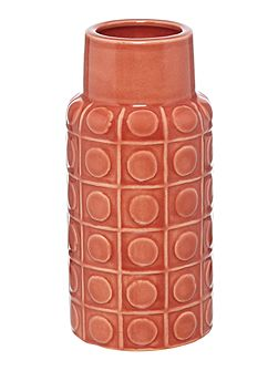 Red embossed bottle vase