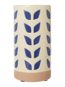 Dickins & Jones Blue leaf print vase