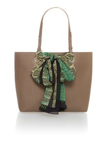 Neutral large removeable scarf tote bag