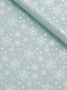 Icy green and silver snowflake wrapping paper
