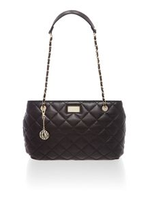 Quilted black medium tote bag