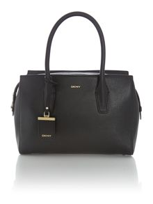 Chelsea black zip top tote bag