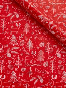 Red rocking around the tree wrapping paper