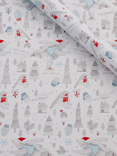 Linea Bob the bear illustrated wrapping paper