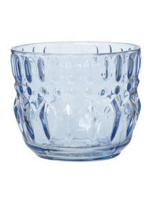 Pressed glass votive, blue