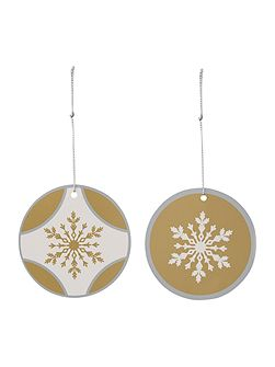 Set of 8 silver and gold snowflake gift