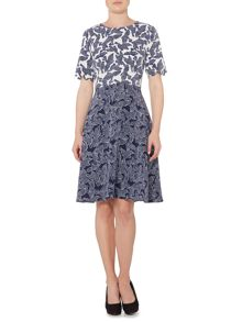Scallop Detail Bird Print Fit & Flare Dress