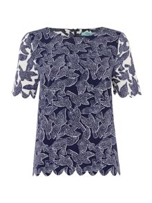 Scallop detail Bird Print Top