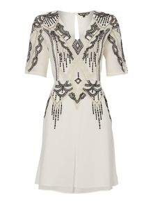 Embroidered and beaded fit and flare dress