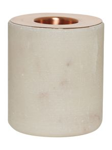 Marble & Copper round candle holder, large