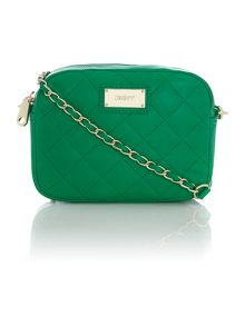 Quilted green small cross body bag