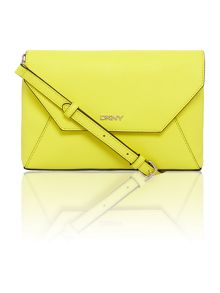Saffiano yellow flap over cross body bag