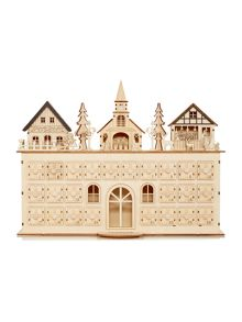 Large light up wooden house advent calendar