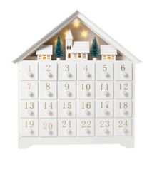 White wooden advent calendar with light up town