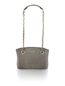 Fashion taupe top zip cross body bag